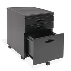 Mobile 15.75''W 22''D Locking 3 Drawer File Cabinet - Black