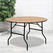 4-Foot Round Wood Folding Banquet Table with Clear Coated Finished Top