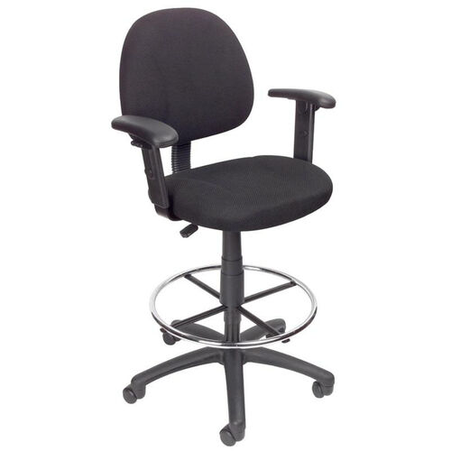 Our Contoured Back Drafting Stool with Foot Ring and Adjustable Arms - Black Tweed is on sale now.