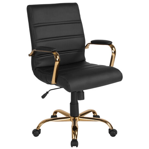 Our Mid-Back Black Leather Executive Swivel Office Chair with Gold Frame and Arms is on sale now.