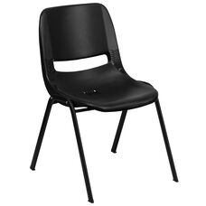 HERCULES Series 440 lb. Capacity Black Ergonomic Shell Stack Chair with Black Frame and 12