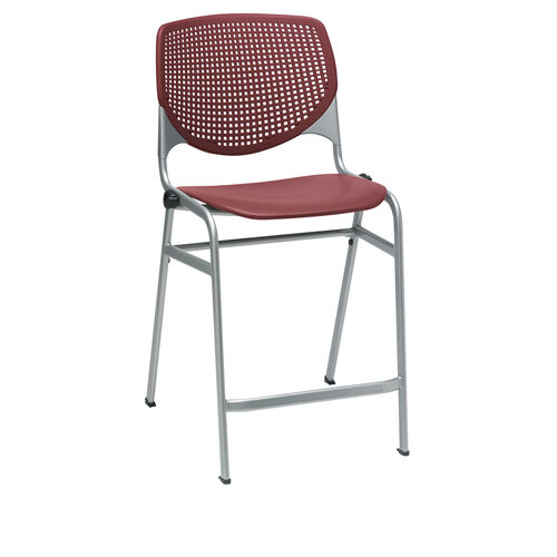 Our KOOL Series Stacking Poly Counter Height Stool with Perforated Back and Silver Frame - Burgundy is on sale now.