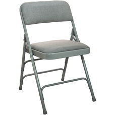 Advantage Grey Padded Metal Folding Chair - Grey 1-in Fabric Seat