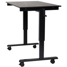 Adjustable Height Black Steel Frame Standing Desk with Crank Handle - Black Oak Top - 47.25