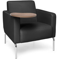 Triumph Lounge Chair With Tablet And Vinyl Seat Chrome Feet Black Bronze