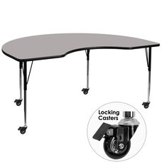 Mobile 48''W x 96''L Kidney HP Laminate Activity Table - Standard Height Adjustable Legs