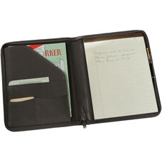 Executive Zippered Writing Portfolio Organizer - Top Grain Nappa Leather - Black