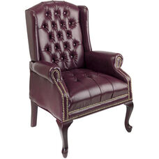 Work Smart Traditional Button Tufted Vinyl Queen Anne Style Guest Chair with Mahogany Finish Legs - Oxblood