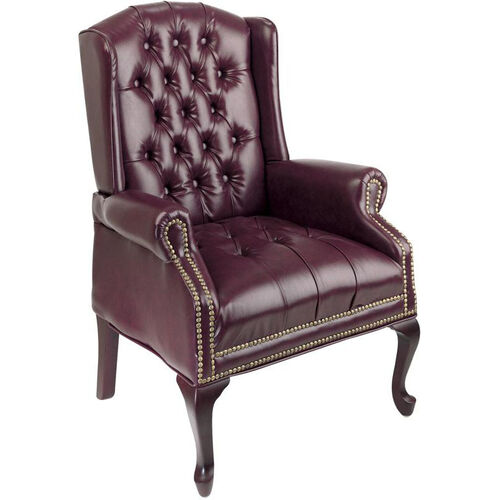 Our Work Smart Traditional Button Tufted Vinyl Queen Anne Style Guest Chair with Mahogany Finish Legs - Oxblood is on sale now.