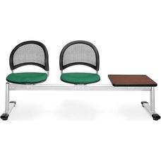 Moon 3-Beam Seating with 2 Shamrock Green Fabric Seats and 1 Table - Mahogany Finish