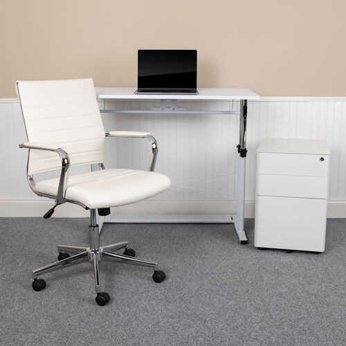 Work From Home Kit - White Adjustable Computer Desk, LeatherSoft Office Chair and Side Handle Locking Mobile Filing Cabinet