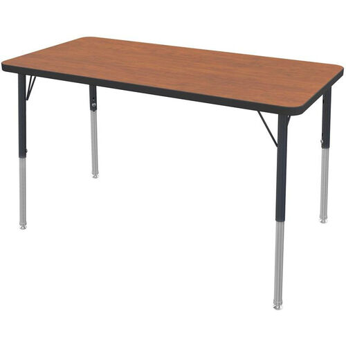 MG Series Teen Height Adjustable Rectangular Activity Table - Wild Cherry Top with Black Edge and Legs - 48
