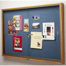 310 Series Bulletin Board Cabinet with 2 Locking Tempered Glass Doors - 48