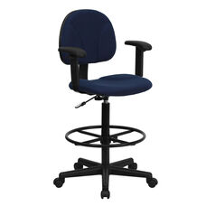 Navy Blue Patterned Fabric Drafting Chair with Adjustable Arms (Cylinders: 22.5