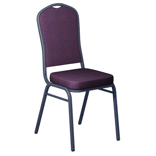 Our Embroidered Shire Berry Blue Fabric Upholstered Crown Back Banquet Chair - Silver Vein Frame is on sale now.