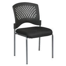 Pro-Line II Titanium Finish Armless Visitors Stack Chair with Plastic Wrap Around Back - Black