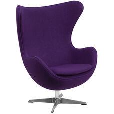 Purple Wool Fabric Egg Chair with Tilt-Lock Mechanism