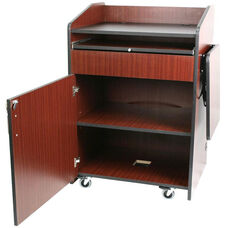 Multimedia Non-Sound Presentation Podium - Mahogany Finish - 33''W x 25''D x 44''H