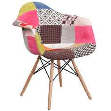 Alonza Series Milan Patchwork Fabric Chair with Wood Base