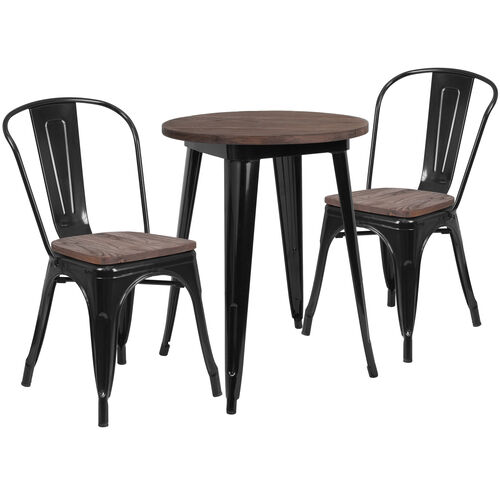 """24"""" Round Black Metal Table Set with Wood Top and 2 Stack Chairs"""
