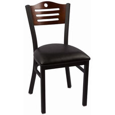Eagle Series Wood Back Armless Chair with Steel Frame and Vinyl Seat - Walnut