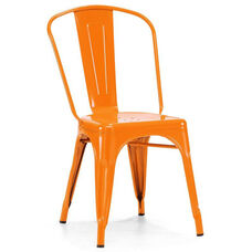 Dreux Glossy Orange Stackable Steel Side Chair - Set of 4
