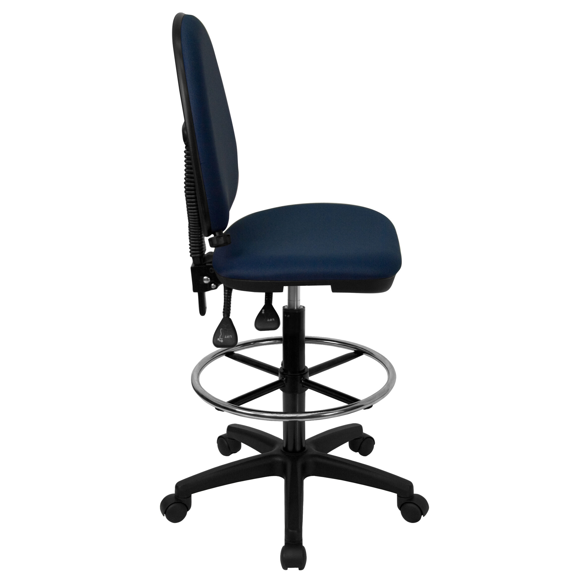 ... Our Mid Back Navy Blue Fabric Multifunction Drafting Chair With  Adjustable Lumbar Support Is On ...