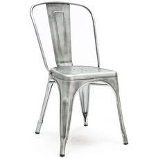 Dreux Vintage Gunmetal Stackable Steel Armless Side Chair - Set of 4
