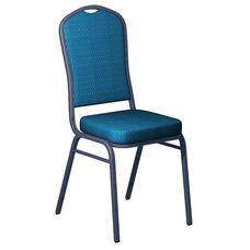 Embroidered Biltmore Aquatic Fabric Upholstered Crown Back Banquet Chair - Silver Vein Frame