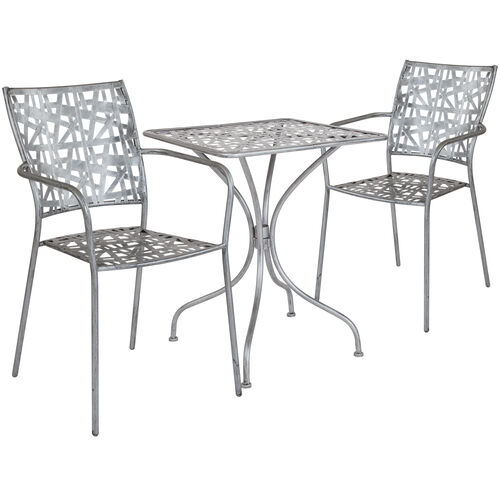 """Our Agostina Series 23.5"""" Square Antique Silver Indoor-Outdoor Steel Patio Table with 2 Stack Chairs is on sale now."""