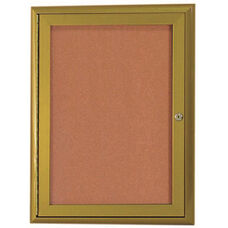 1 Door Enclosed Bulletin Board with Aluminum Waterfall Style Frame with Antique Brass Finish - 36
