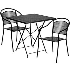 """Commercial Grade 28"""" Square Black Indoor-Outdoor Steel Folding Patio Table Set with 2 Round Back Chairs"""