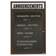 1 Door Indoor Enclosed Directory Board with Header and Bronze Anodized Aluminum Frame - 24