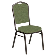 Embroidered Crown Back Banquet Chair in Martini Olive Fabric - Gold Vein Frame