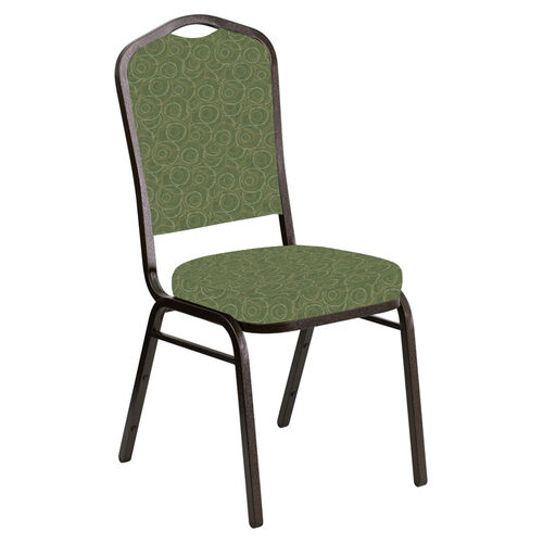 Our Embroidered Crown Back Banquet Chair in Martini Olive Fabric - Gold Vein Frame is on sale now.