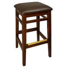 Trevor Mahogany Wood Backless Barstool - Dark Brown Vinyl Seat