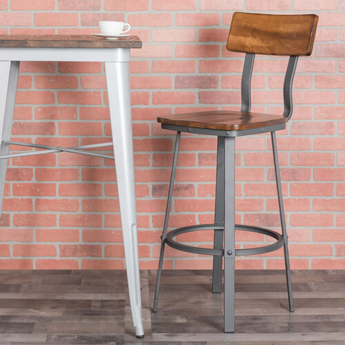 Rustic Walnut Restaurant Barstool with Wood Seat & Back and Gray Powder Coat Frame