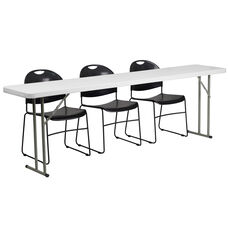 8-Foot Plastic Folding Training Table Set with 3 Black Plastic Stack Chairs