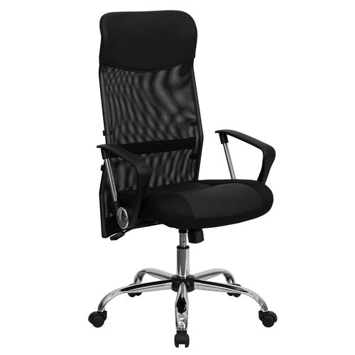 Our High Back Black Leather and Mesh Swivel Task Office Chair with Arms is on sale now.