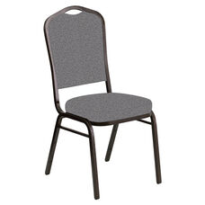 Embroidered Crown Back Banquet Chair in Ribbons Fog Fabric - Gold Vein Frame