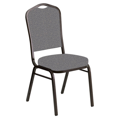 Our Embroidered Crown Back Banquet Chair in Ribbons Fog Fabric - Gold Vein Frame is on sale now.