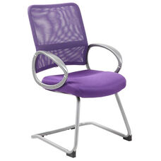 Mesh Back with Pewter Finish Guest Chair with Loop Arms - Purple