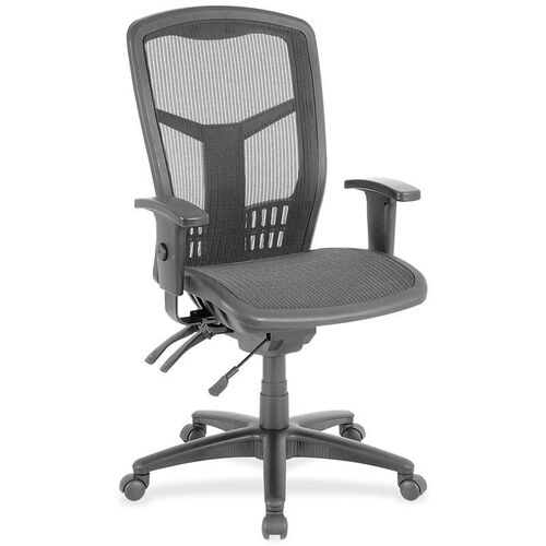 Our Lorell Mesh Swivel Executive Chair with Adjustable Arms - Black is on sale now.