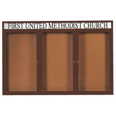 3 Door Indoor Illuminated Enclosed Bulletin Board with Header and Bronze Anodized Aluminum Frame - 48