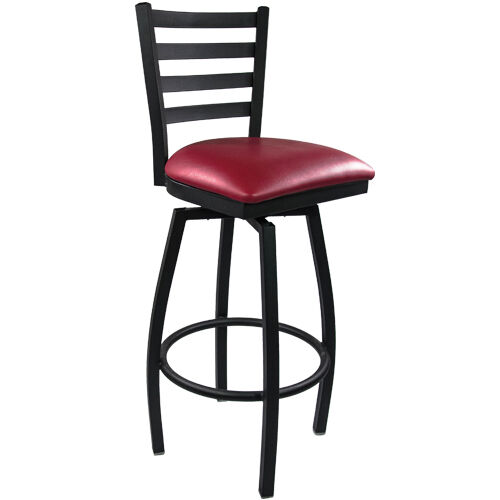 Advantage Ladder Back Metal Swivel Bar Stool - Burgundy Padded