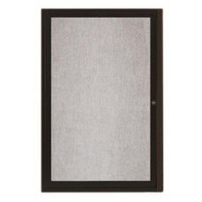 1 Door Outdoor Illuminated Enclosed Bulletin Board with Black Powder Coated Aluminum Frame - 24''H x 18''W