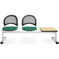 Moon 3-Beam Seating with 2 Shamrock Green Fabric Seats and 1 Table - Oak Finish