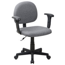 Mid-Back Gray Fabric Swivel Task Chair with Adjustable Arms