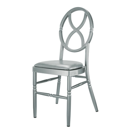 Our Velika Series Stackable Sand Glass Aluminum Dining Chair Silver Vinyl Cushion - Silver is on sale now.