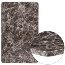 "24"" x 42"" Rectangular Gray Marble Laminate Table Top"